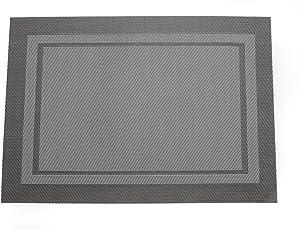 VORCOOL Manteles Individuales Resistentes al Calor Antideslizantes Lavables de PVC de Tabla para Hogar Restaurante (Gris plateado)