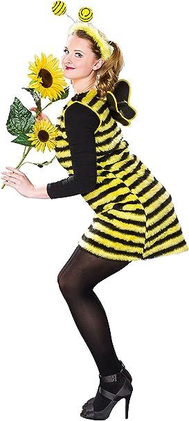 Festartikel Müller Bienen Kostüm für Damen, Kleid mit Flügeln und Fühler (3638)
