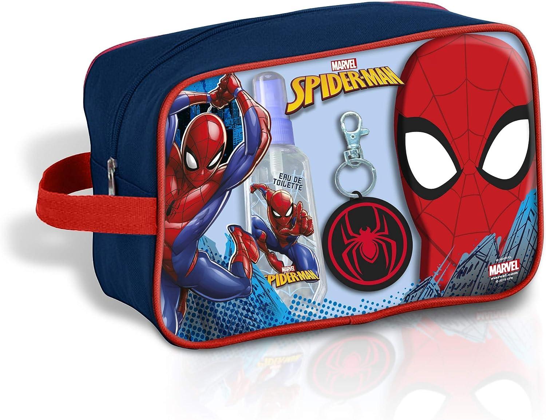 40 cm Spiderman Trousse de Toilette Cologne Parfum EDT 90 ML Pendentif et Gel 300 ML de Trousse de Toilette Multicolore