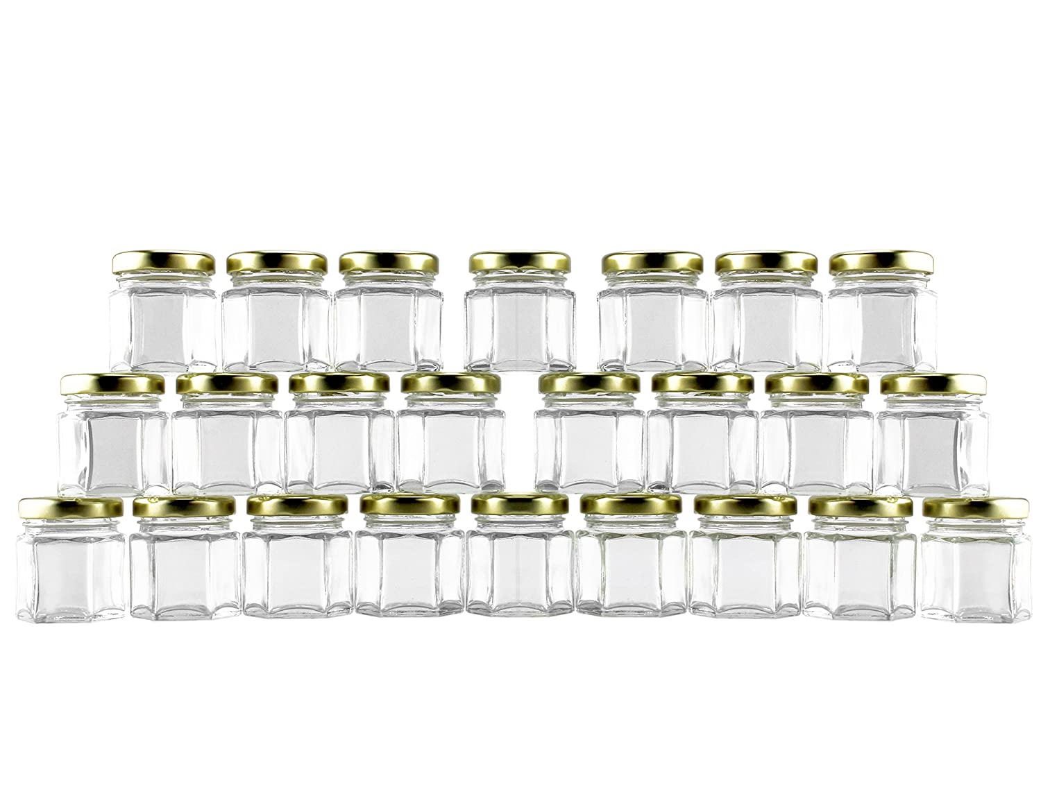 24 Mini Hexagon Glass Jars, 1.5oz Hex Jars (24-Pack) - for Spices, Gifts, Party Favors, DIY & more
