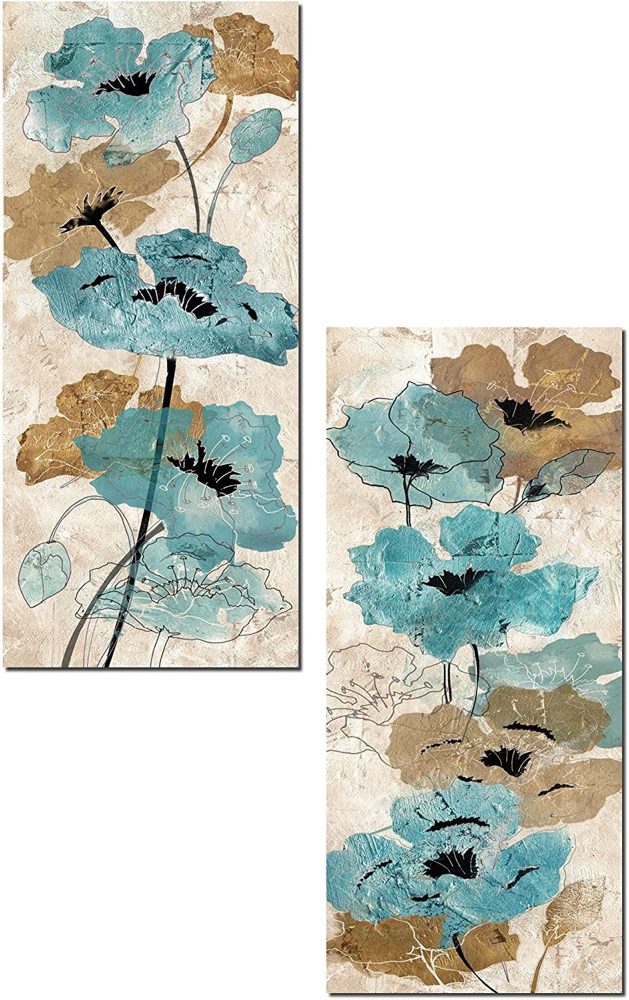 Gorgeous Garden Watercolor-Style Tan and Teal Poppy Panels by Tre Sorelle Studios; Two 8x18in Poster Print