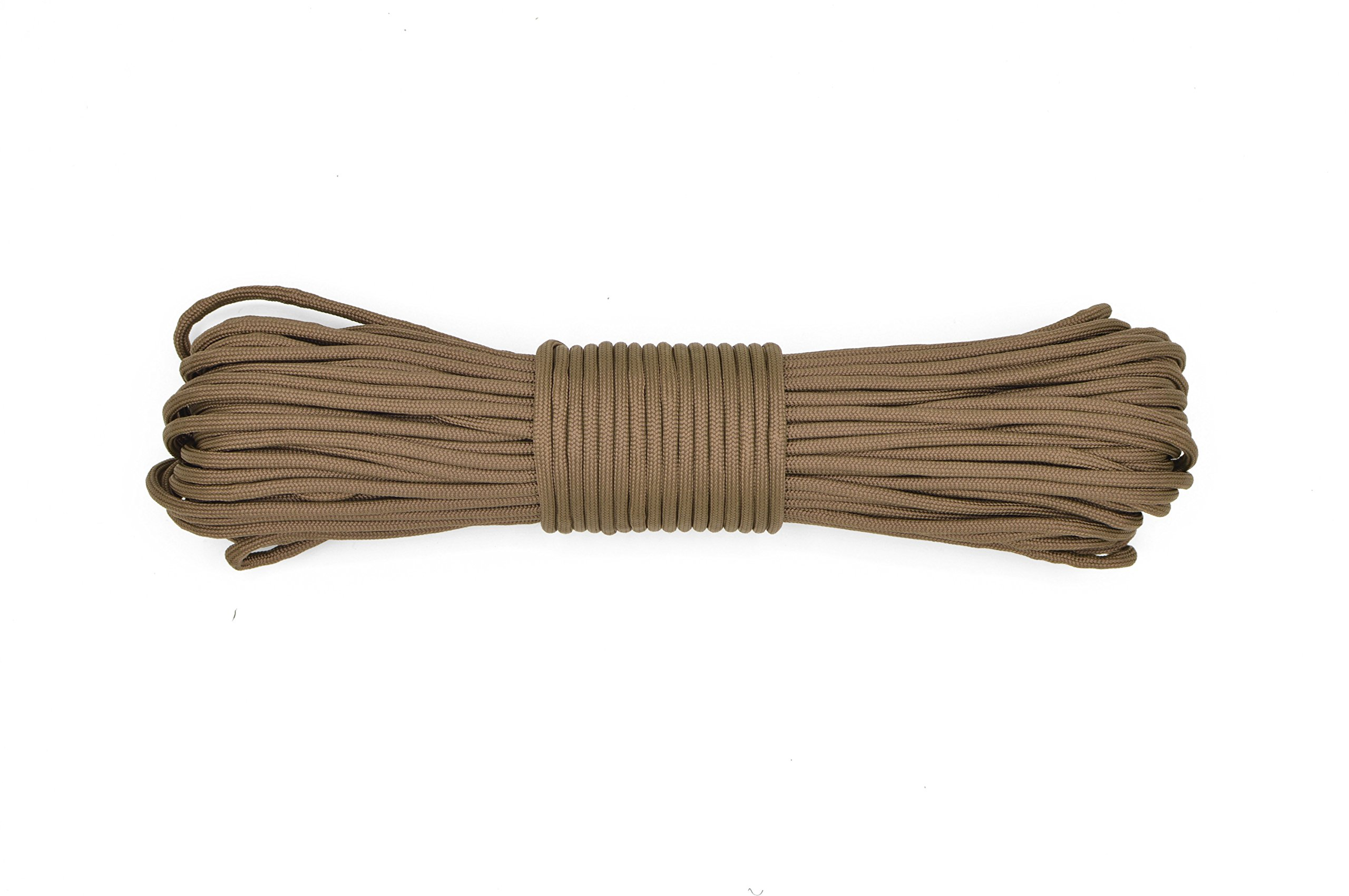 Paracord Rope 550 Type III Paracord - Parachute Cord - 550lb Tensile Strength - 100% Nylon - Made In The USA (Chocolate Brown, 50 Feet)