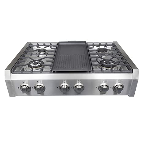 Superb Cosmo Professional Style Slide In Gas Cooktop In Stainless Steel  36 In