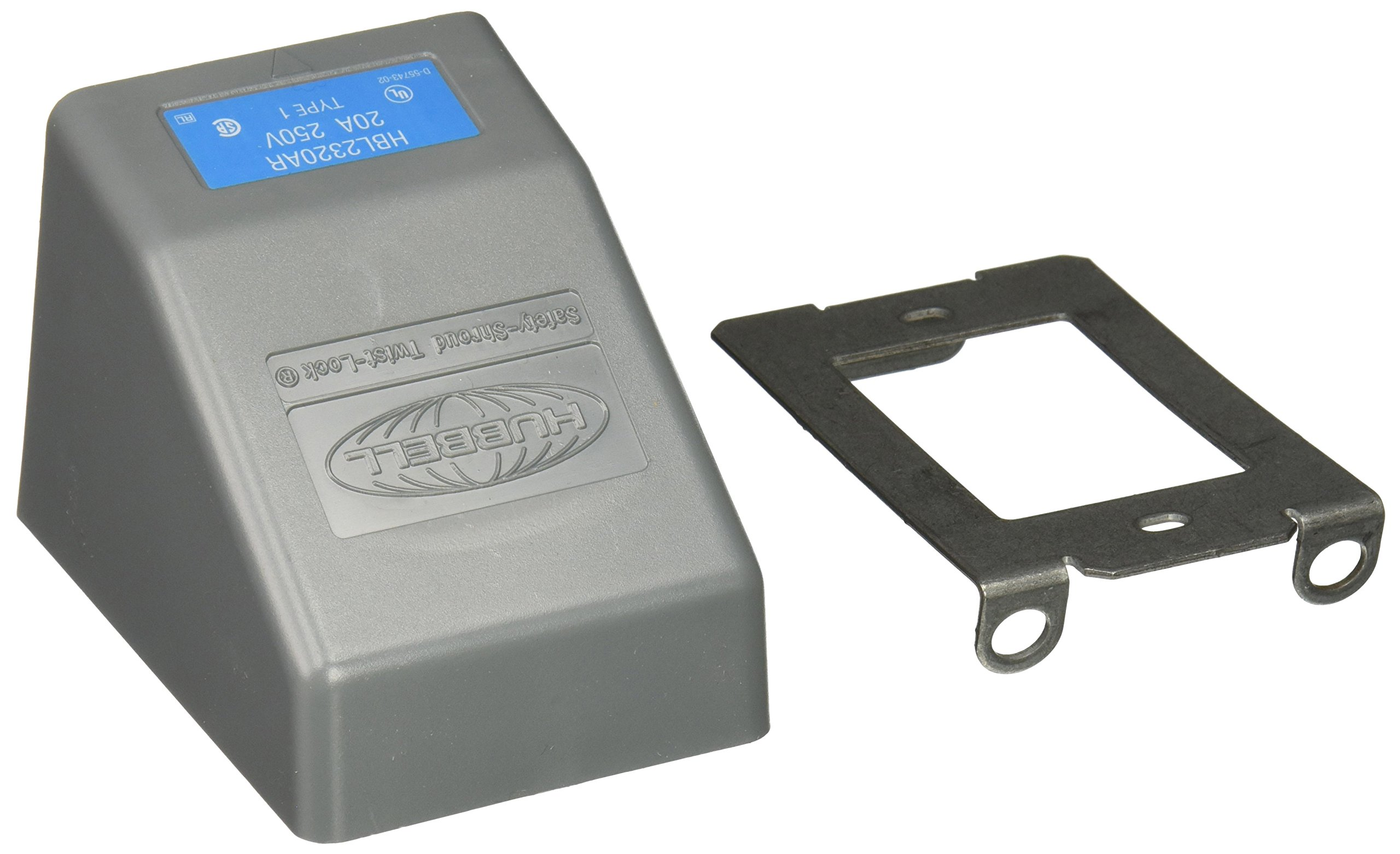 Hubbell HBL2320AR Locking Safety Shroud Receptacle, Angled Surface Mount, L6-20R, Gray by Hubbell (Image #2)