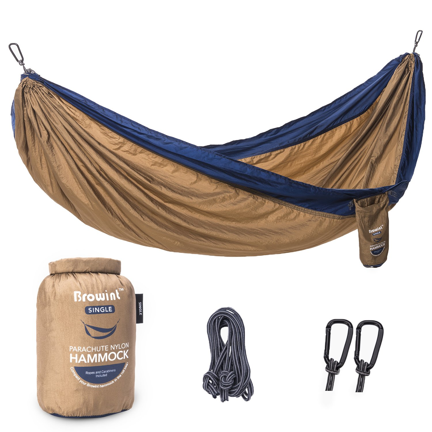 Browint Single Camping Hammock, 12 Colors, Lightweight & Unique 220T Parachute Nylon Portable Hammock, Best Outdoor Hammock for Backpacking, Camping, Hiking, Beach, Travel, Yard. 10' L x 5' W by Browint