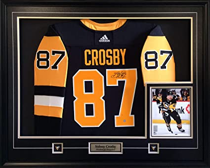 f44b2ee13 Sidney Crosby Signed Jersey Framed Pro Black Adidas Penguins with 8x10