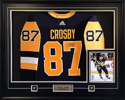 quality design 88a22 b91ab Sidney Crosby Signed Jersey Framed Pro Black Adidas Penguins ...