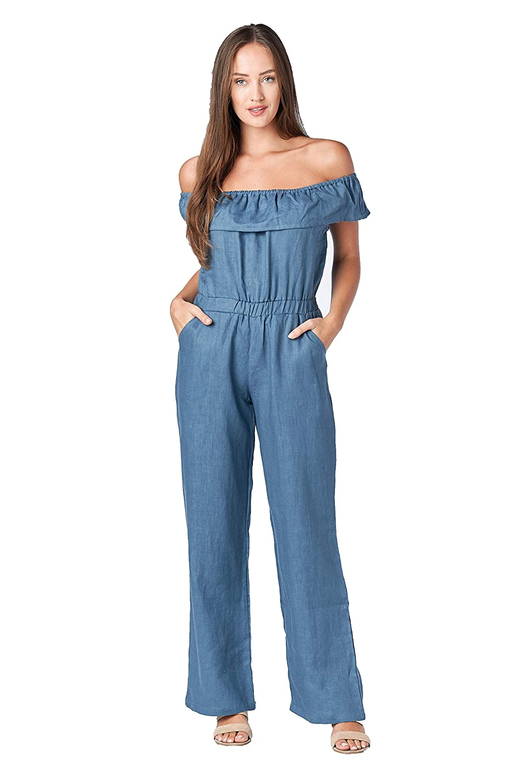 309cea7253 Amazon.com  Mariyaab Women s Strapless Ruffled Top Off Shoulder Casual Wide  Leg Full Length 100% Linen Jumpsuit  Clothing