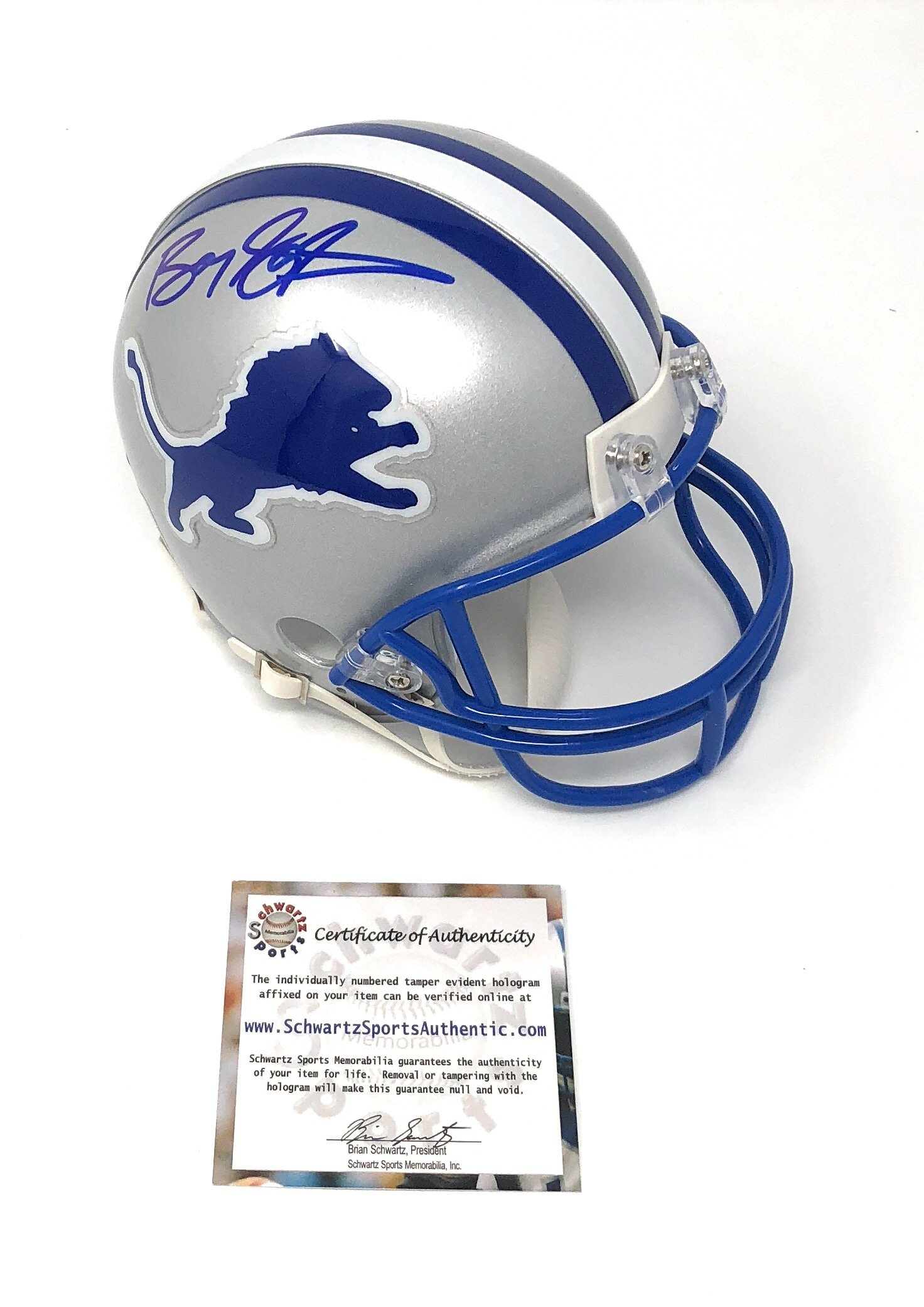 Barry Sanders Detriot Lions Signed Autograph Mini Helmet Schwartz Sports Certified