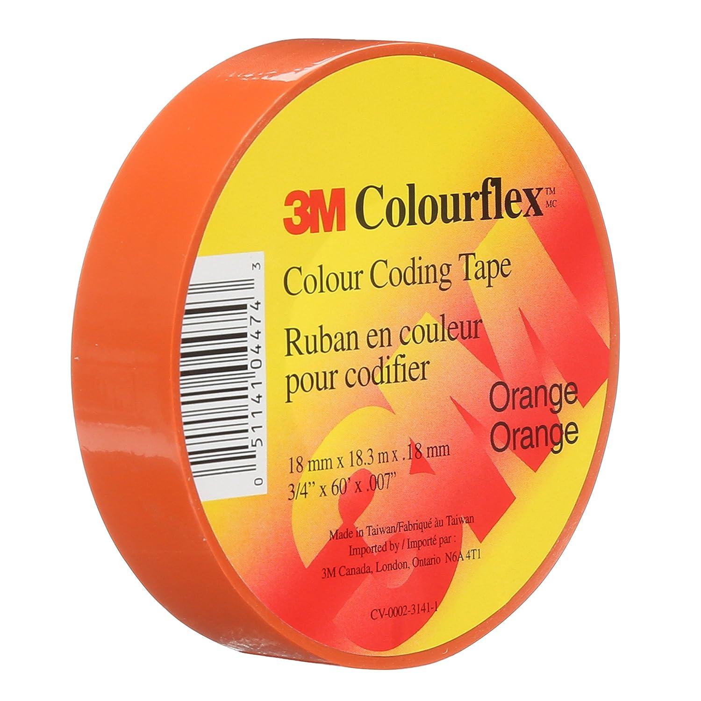 2 cm x 18.3 m 3M Colourflex Vinyl Colour Coding Tape 3//4 in x 60 ft 7mil 100 Rolls Orange