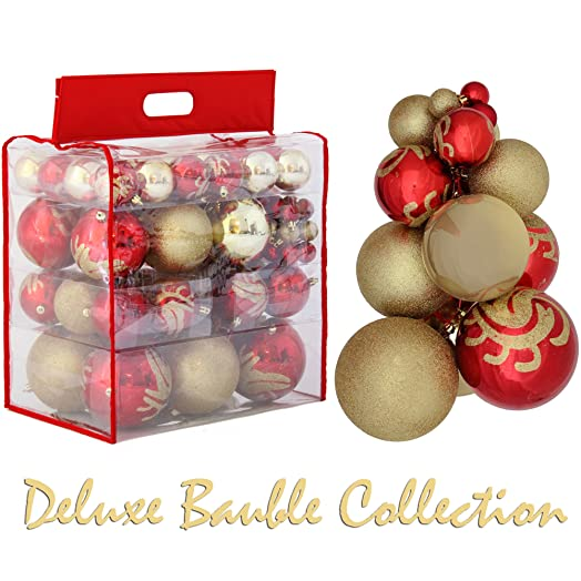 96 Piece Red  Gold Deluxe Christmas Tree Bauble Baubles