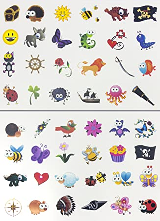 Tattoo Set 96 Kindertattoos Tattoo verschiedene Motive Kinder ...