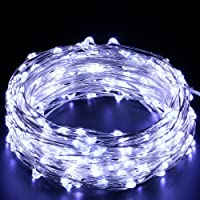 Quace 10m USB Operated Pure White LED String Lights. 100 Tiny Bright Lights on a 10M Flexible Silver-Coated Copper Wire