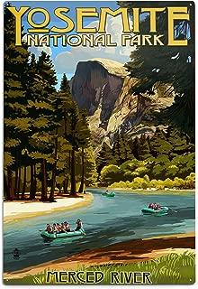 product image for Lantern Press Yosemite National Park, California - Merced River Rafting 42230 (6x9 Aluminum Wall Sign, Wall Decor Ready to Hang)