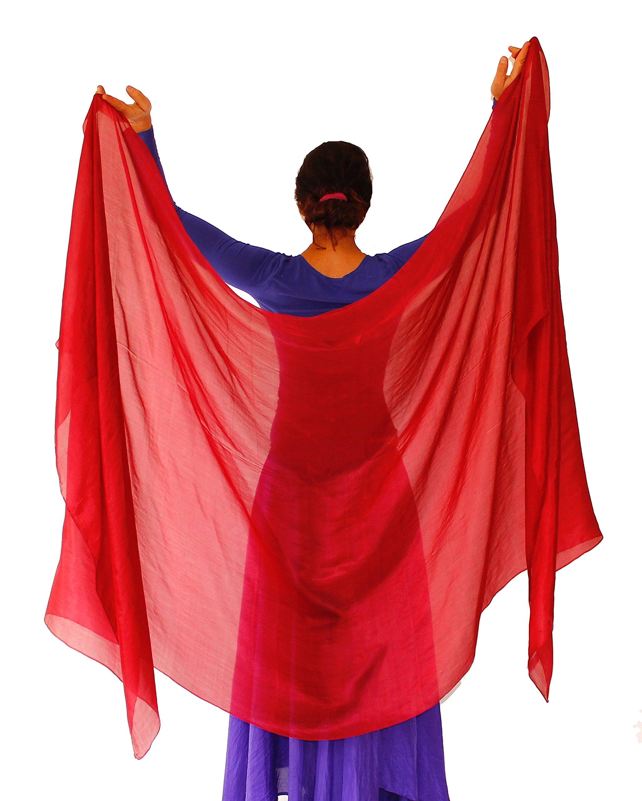 Nahari Silks Womens 100% Silk Dance Scarves Shawls Wraps Solid Colors Red 108'' by Nahari Silks