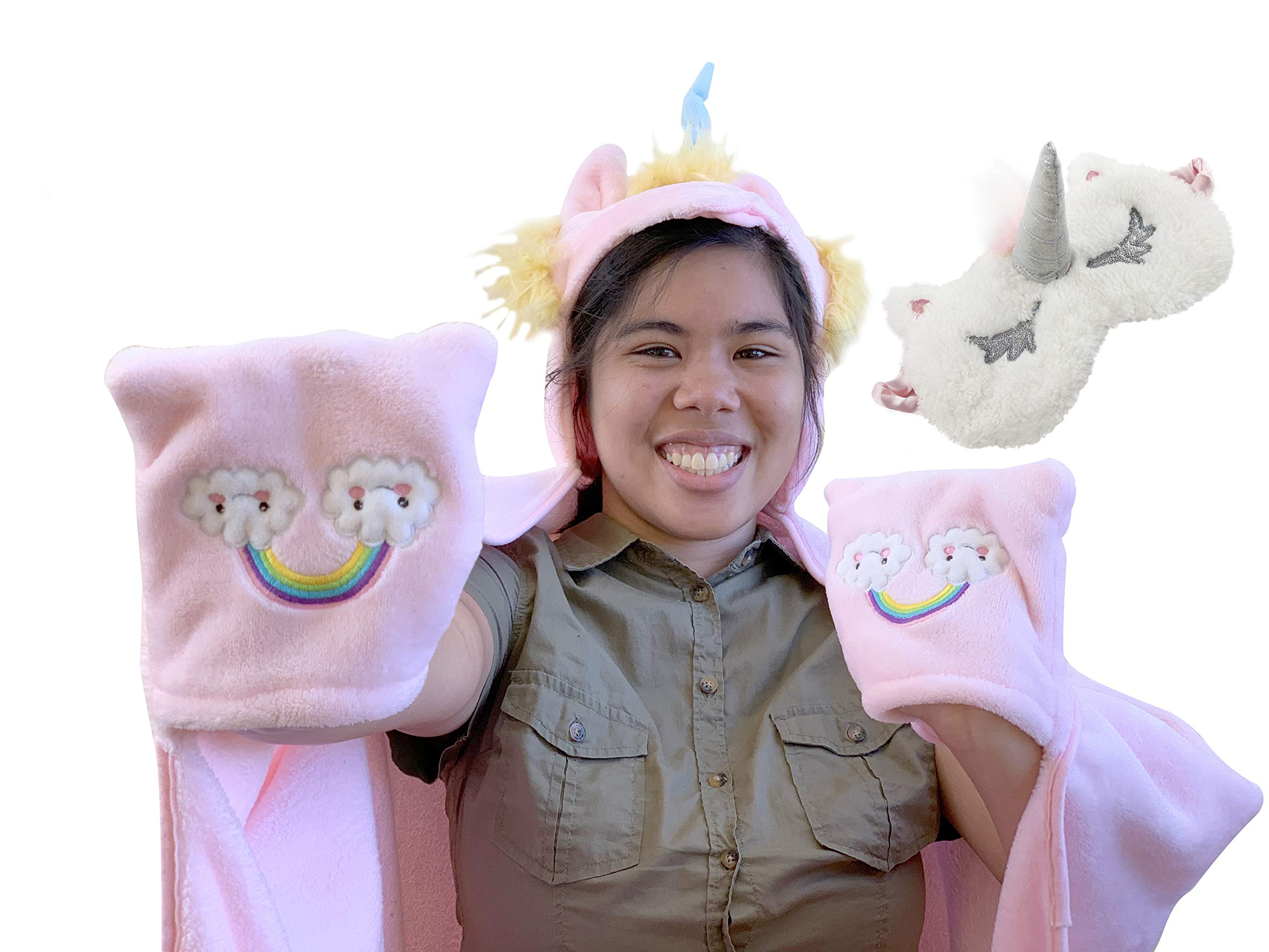 Aloha Cozy Unicorn Blanket for Girls | Unicorn Throw Blanket for Girls Set | Unicorn Eye Mask and Unicorn Hoodie for Girls | Smooth and Soft | Premium Quality | Best for Gift by Aloha Cozy