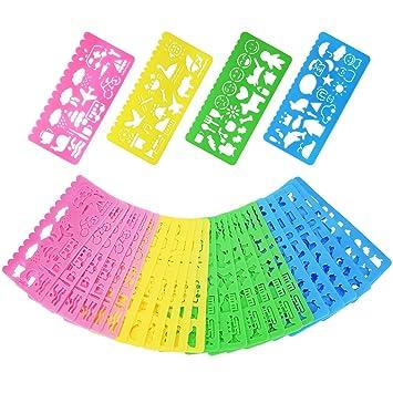 Outus Plantillas de Dibujo de Plástico Conjunto de Plantilla para Niños, 74 Formas, 24 Piezas: Amazon.es: Juguetes y juegos
