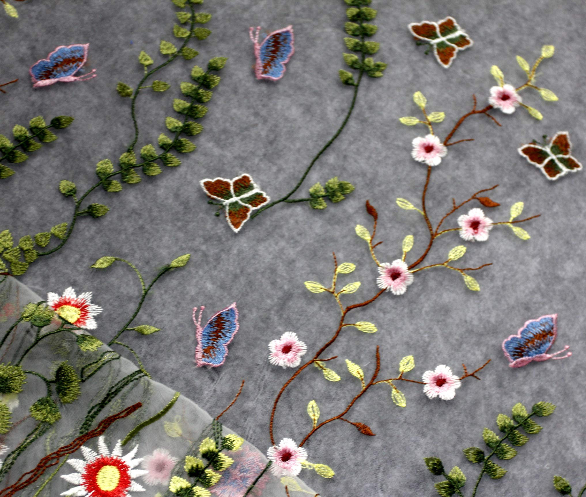 De.De Embroidery Colorful Flower Lace Trim for Wedding Dress Decor 1X1.5m Embroidered Lace Fabrics