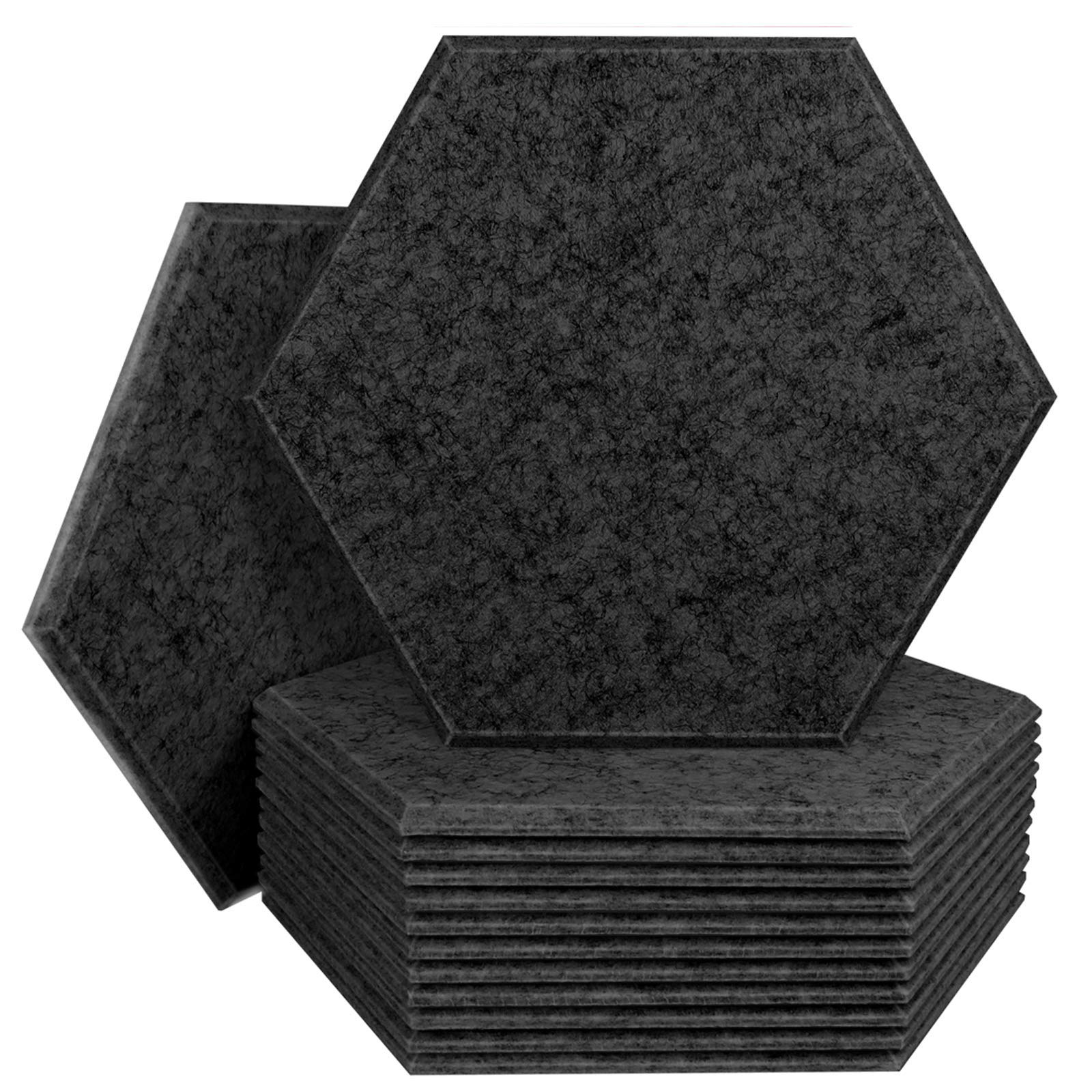 Multiple Colour, Sound deadening and Insulation Art Treatment with Beveled Edges, 8 PACK, Sesame black BUBOS New Acoustic Panels Sound Absorption Wall Tiles