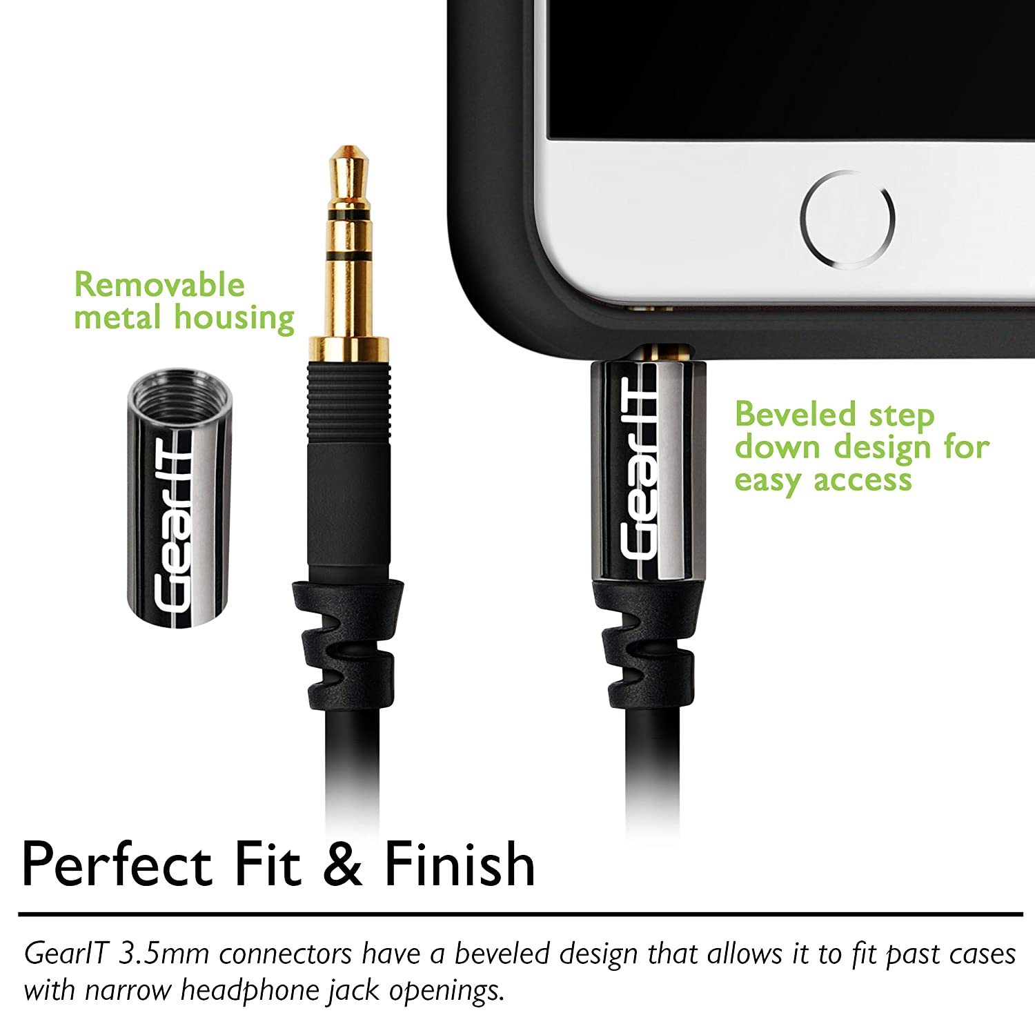 3.5mm to RCA Cable iPods iPhones Car Stereo MP3 Players and More Home System GearIT Pro Series 50 Feet Premium Gold Plated 3.5mm to RCA Audio Stereo Cable for Headphones Black