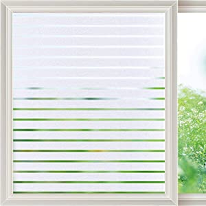 Viseeko Privacy Window Film Frosted Static Cling Glass Film Decorative Frosted Stripe Patterns Non-Adhesive for Home Office Kids Study Meeting Room Decor(23.6 x 157.5Inches)
