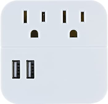 GE Pro 2-Outlet + 2 USB Surge Protector Wall Adapter (White)