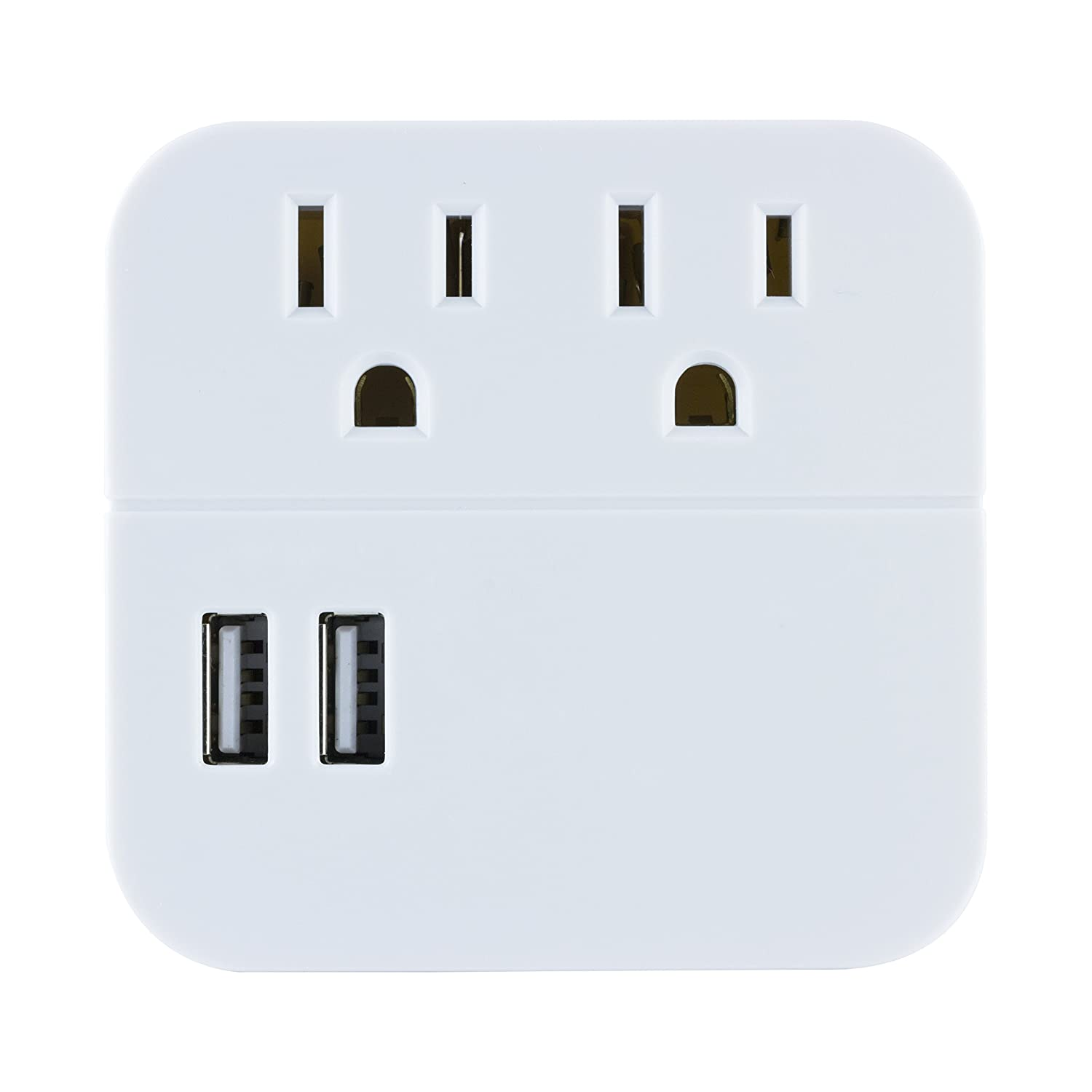 GE 2 Outlet 2 USB Surge Protector Wall Tap, Charging Station, Wall Plug Adapter, Dual USB Tablet and Cell Phone Charger, 120V/15A/180WW, 280 Joules, UL Listed, White, 37144