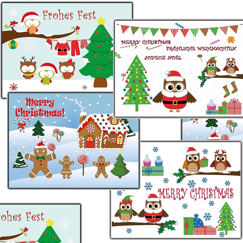 Familiäre Weihnachtsgrüße.12 Stk Weihnachtskarten Eulen Eule Nostalgisch Weihnachtspostkarten