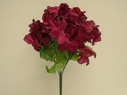 Amazon phoenix silk 4 bushes burgundy hydrangea 6 artificial phoenix silk 4 bushes burgundy hydrangea 6 artificial silk flowers 12quot bouquet 751bu mightylinksfo