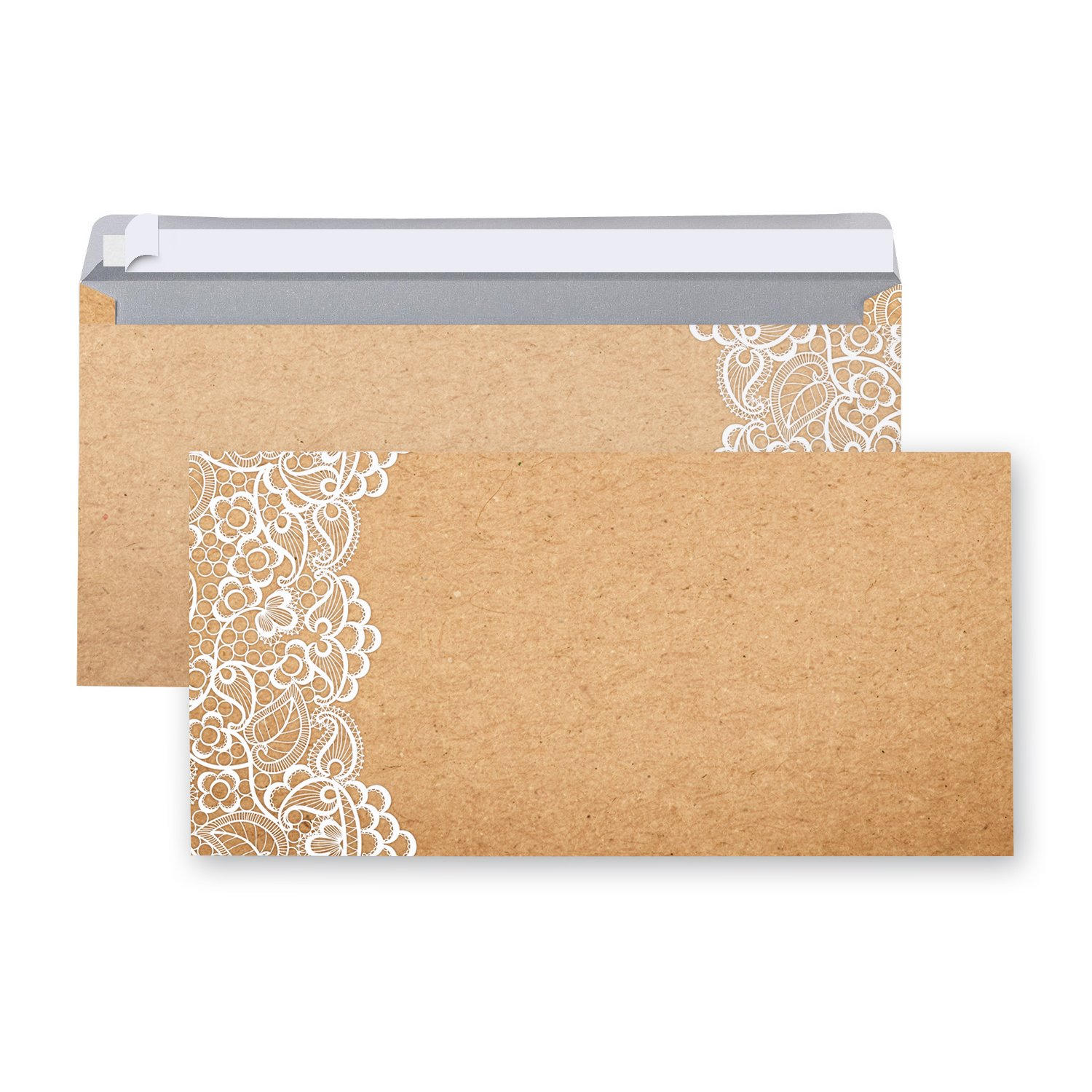 Pack of 100Envelopes Envelopes Brown/Beige Lace Vintage Aged Design Marbled Nostalgia Envelope DIN Long 22x 11cm with Adhesive Strips Rustic Antique Festive Stainless Jeanette Dietl