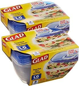 Glad BB13605PCS6 Food Storage Containers, Large Square (64 Oz) - 3 Count, Standard, 6
