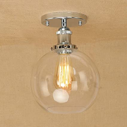 GRFH Lámpara de techo de cristal redondo, vidrio ...