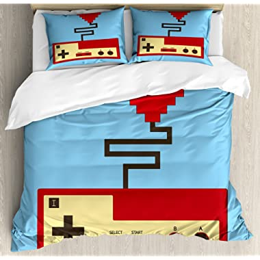 Lunarable Gamer Queen Size Duvet Cover Set, Pixel Art Style Heart Connected to a Controller with Simplistic Design, Decorative 3 Piece Bedding Set with 2 Pillow Shams, Pale Blue Beige Ruby
