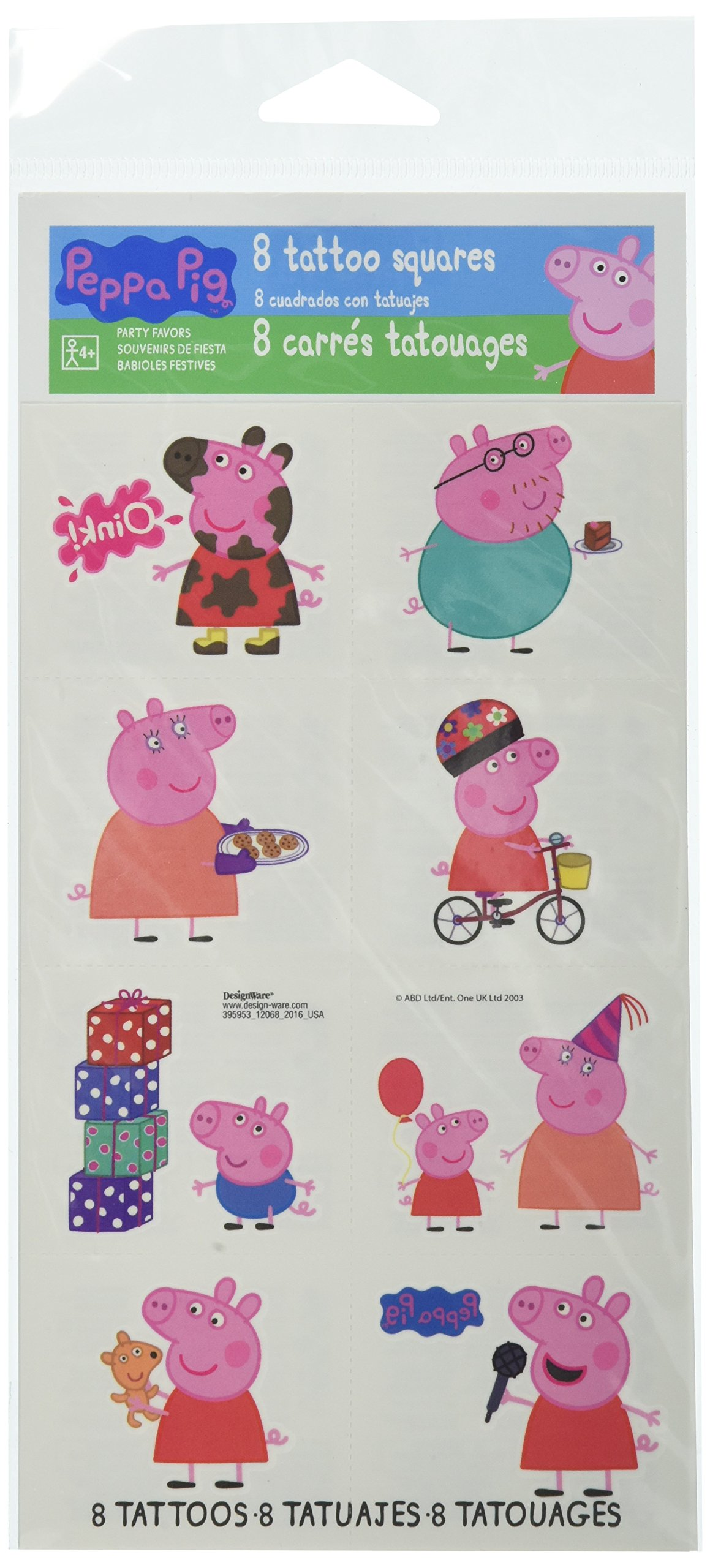 Amscan Tattoo Favors | Peppa Pig Collection | Party Accessory | 192 Ct.