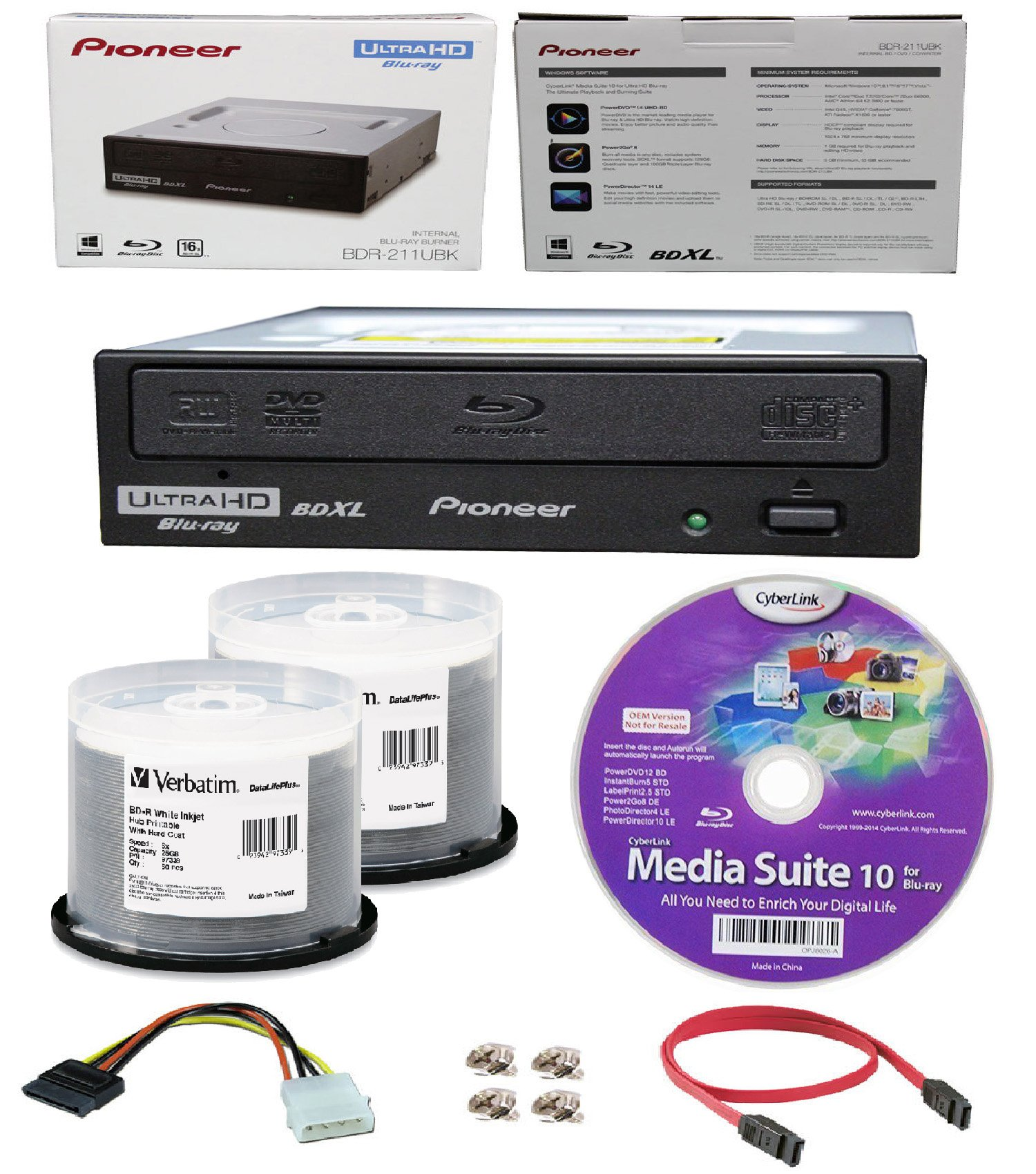 Pioneer 16x BDR-211UBK Internal Ultra HD Blu-ray BDXL Burner, Cyberlink Software and Cable Accessories Bundle with 100pk BD-R Verbatim 25GB 6X DataLifePlus White Inkjet, Hub Printable by Produplicator