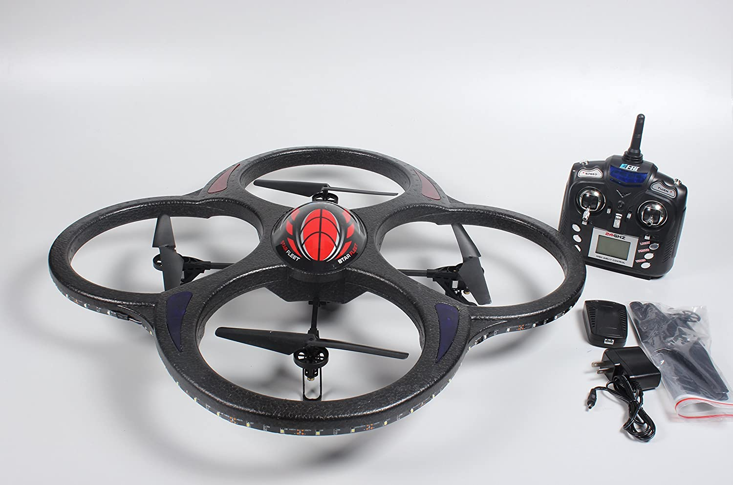 Amazon Ei Hi S911C Huge 24GHz 65 Channel 6 Axis Gyro LED Light RC Quadcopter UFO With Camera Toys Games