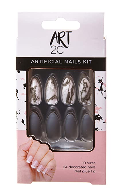 Art 2C - Kit de uñas postizas con pegamento fáciles de poner y ...