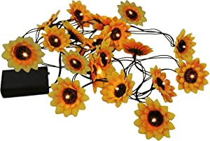 TGHOMECRAFT.LED Sunflower String Lights Artificial Silk Flowers Battery Powered Fairy Starry Lights for Wedding Birthday Party and Holiday Seasonal Halloween Christmas Décor,Yellow color,13 ft/20 LEDs