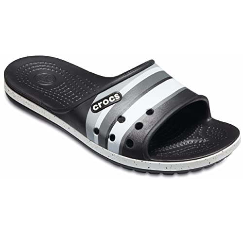 6f58af5a838f crocs Unisex s Black and Light Grey Flip Flops Thong Sandals-M4W6  191448195493
