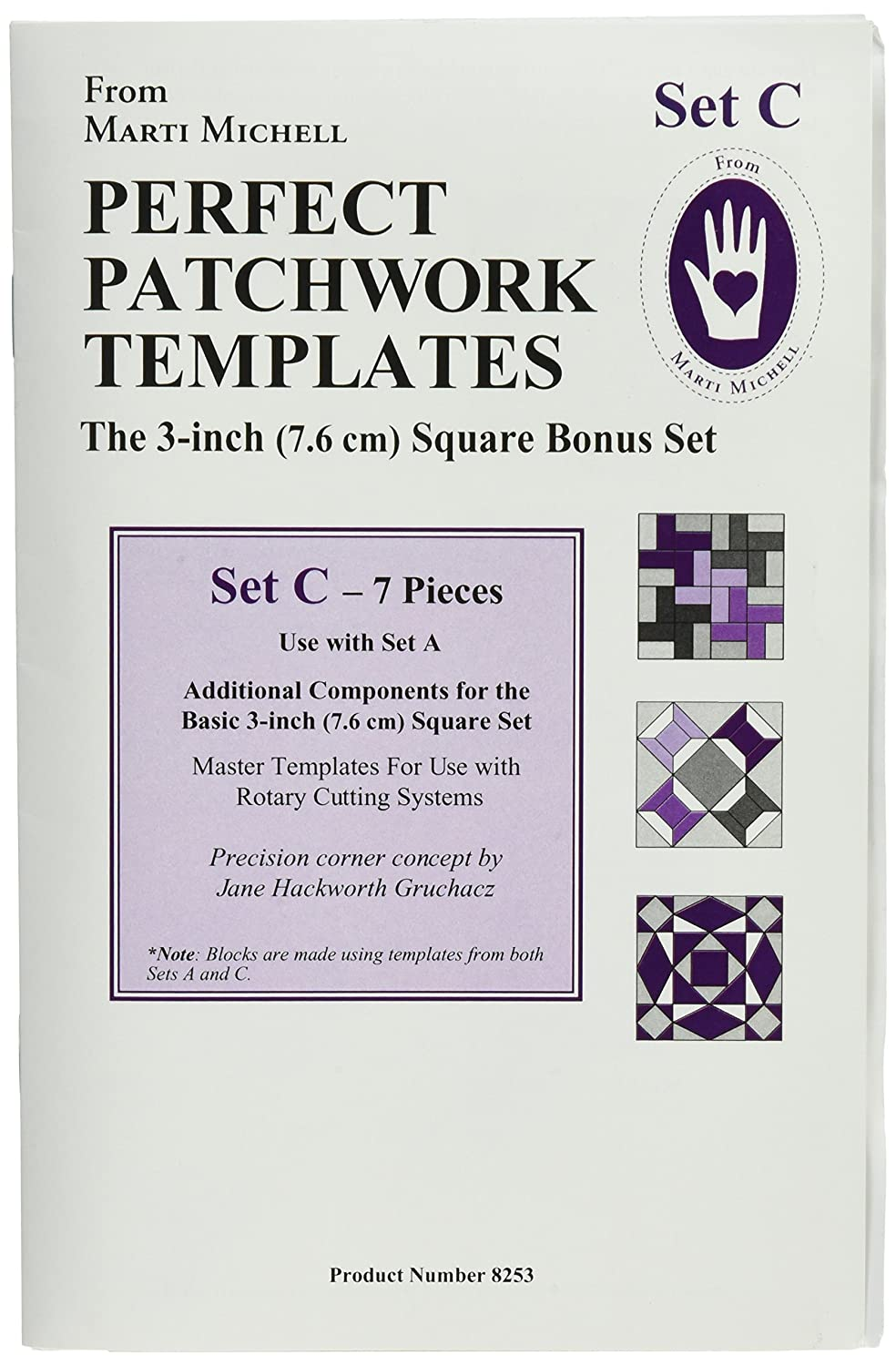 Amazon perfect patchwork 3 inch template set a basic square amazon perfect patchwork 3 inch template set a basic square set package of seven maxwellsz