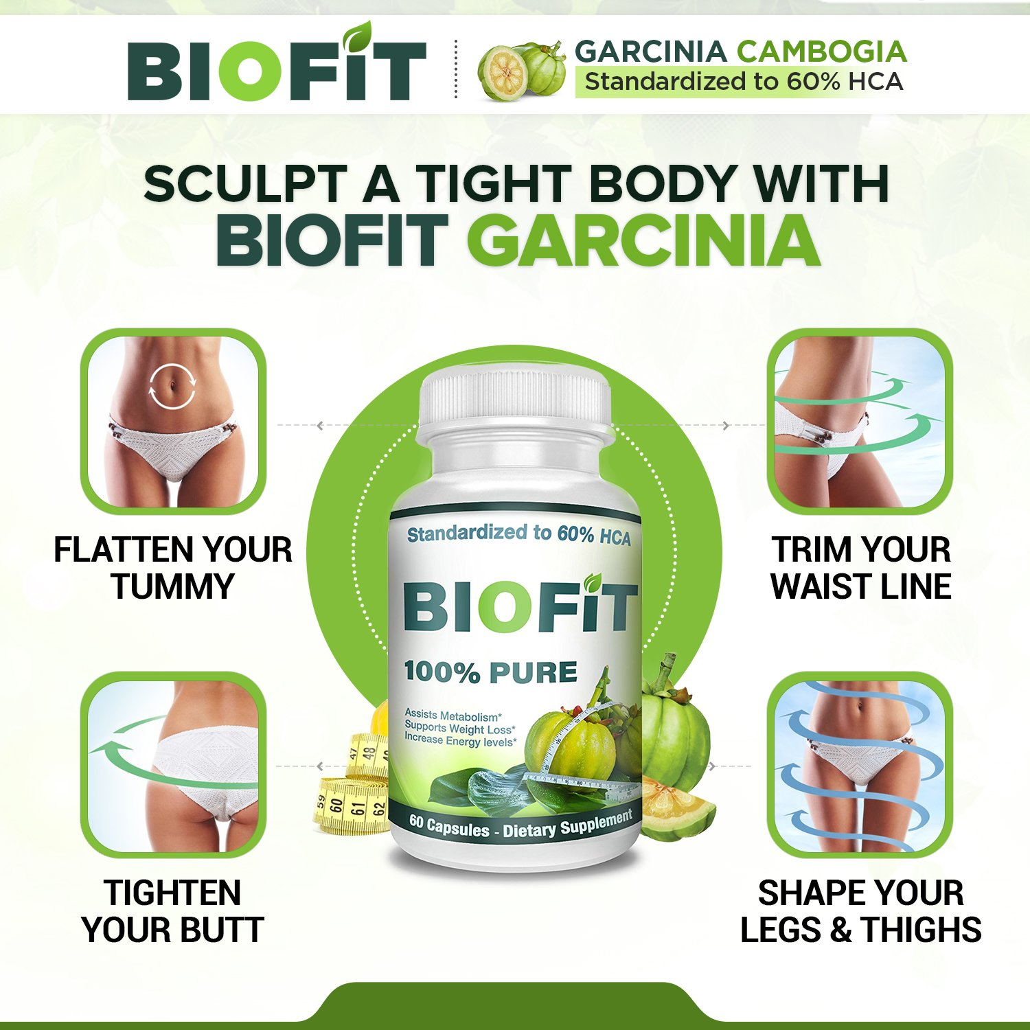 BioFit- 100% Pure Garcinia Cambogia- Standardized to 60% HCA - 60 Capsules- Assists Metabolism Acceleration- Increase Energy- Melt Fat Faster- Diet Supplement For Men and Women