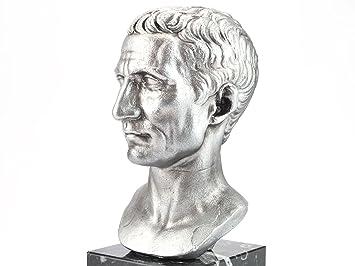 Römer Statue Büste Julius Caesar Altsilber Replik Forum Traiani