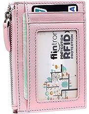 flintronic ® Porta Carte di Credito di Vera Pelle, Portafoglio RFID/NFC Blocco con Piccolo Portafogli con Tasche con Zip, Finestra di ID, con Confezione Regalo