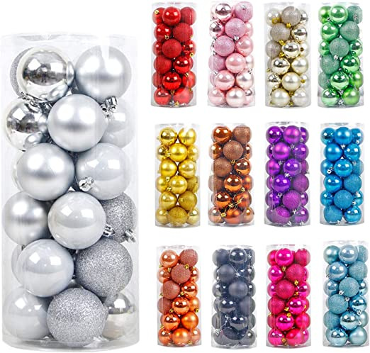 Glitter 24 Pack Of Christmas Tree Baubles Decorations 6cm Xmas Balls Plain