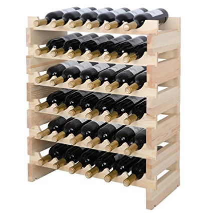 Lovely Smartxchoices 36 Bottle Stackable Modular Wine Rack Small Wine Storage Rack  Free Standing Solid Natural Wood