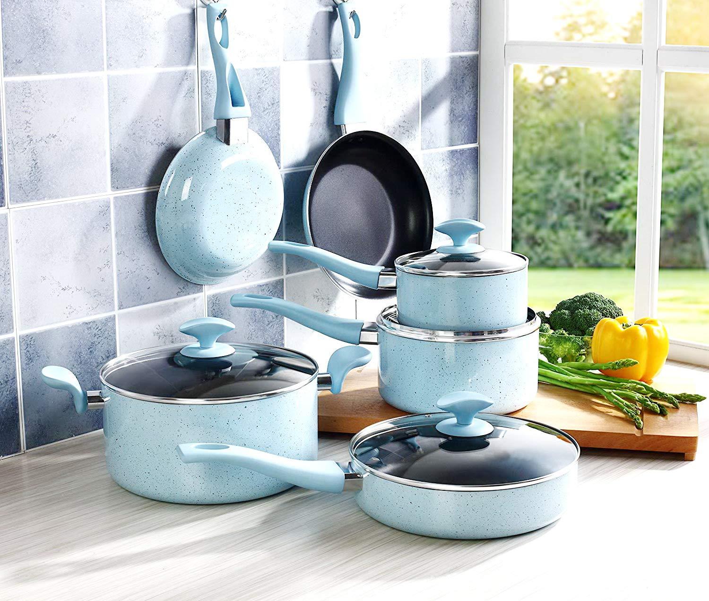調理器具セット 鍋とフライパン ノンスティック アルミニウム 誘導 クッキング フライキット ガラス蓋付き 10点 オーブン使用可。 ソースパン ストックポット フライパン ブルー   B07P5FJ9N2