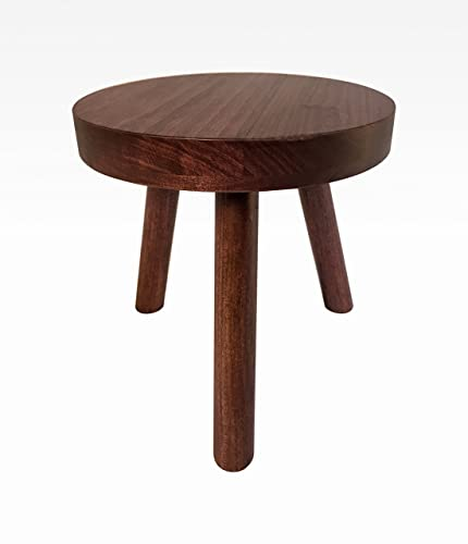 Small Wood Three Legged Stool, Modern Plant Stand In Black Cherry By  Candlewood Furniture,