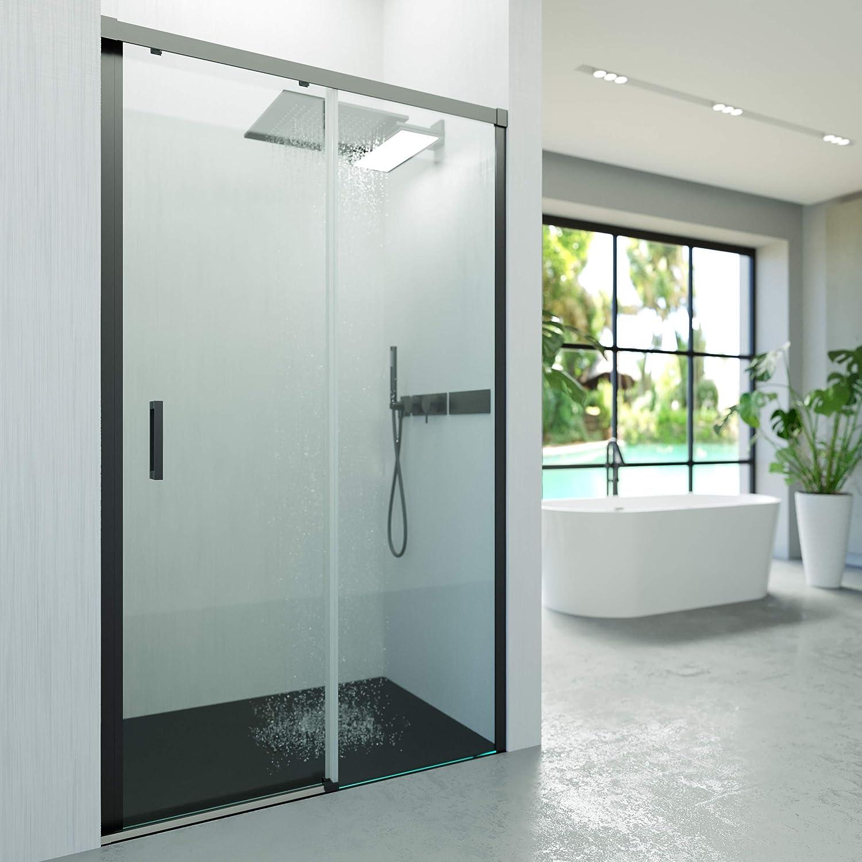 VAROBATH .Mampara de ducha con apertura frontal de puerta corredera, perfil NEGRO y cristal transparente con 6 mm de grosor. Disponible en varias medidas (157 a 166): Amazon.es: Bricolaje y herramientas