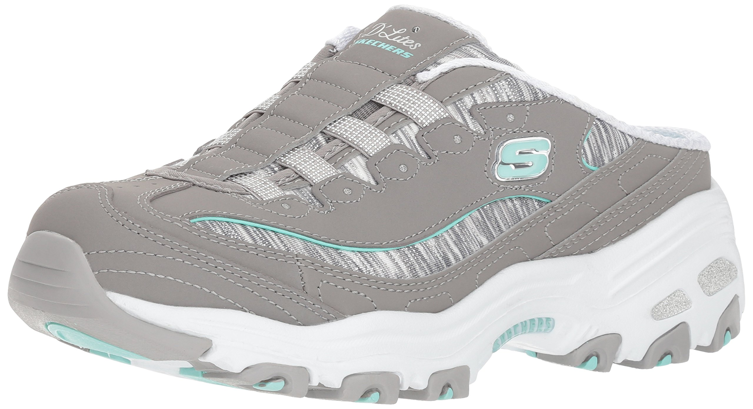 Skechers Women's D'Lites-Spark Interest Sneaker, Grey Mint, 7 M US