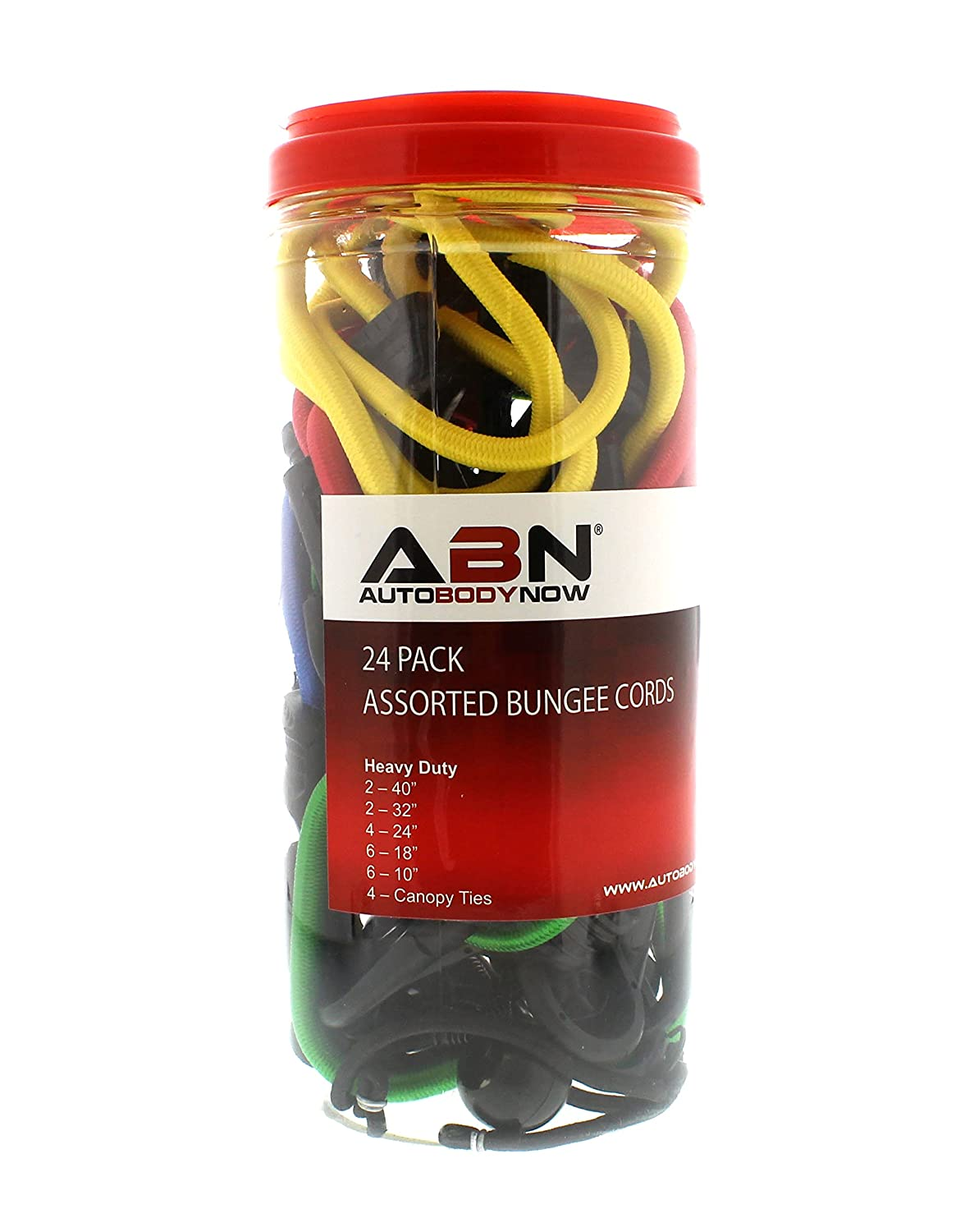 24 18 24 Pack ABN Heavy Duty Bungee Cord Assortment /& Canopy Ties 10 32 /& 40-Inch Straps